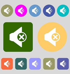 Mute speaker sign icon sound symbol 12 colored vector