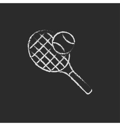 Tennis racket and ball icon drawn in chalk vector
