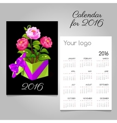 2016 calendar and gift box with pink roses vector image