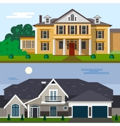 Luxury house exterior in flat vector