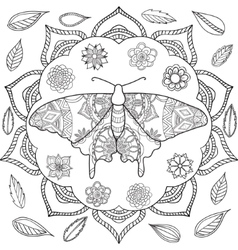 Detailed ornamental sketch of a moth vector