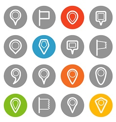 Different navigation pins set with rounded corners vector
