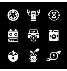 Set icons of electric car vector