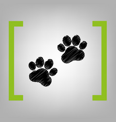animal tracks sign black scribble icon in vector image