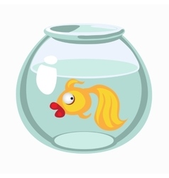 Cartoon golden fish in aquarium vector image