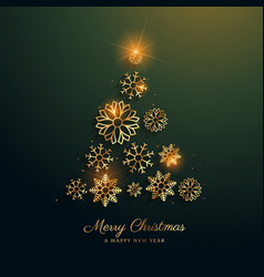 christmas tree design made with golden snowflakes vector image vector image