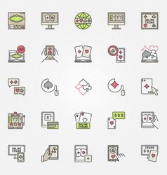Colorful online casino casino icons vector