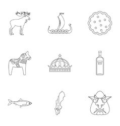 Country of vikings icons set outline style vector