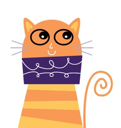 Cute beautiful adorable cat isolated on white vector image vector image