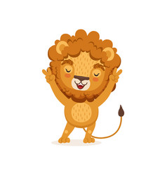 Cute happy lion cartoon character standing with vector