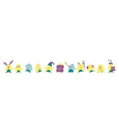Cute penguins banner vector image