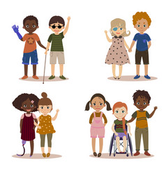 Disabled children with friends vector