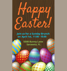 Easter brunch invitation card vector