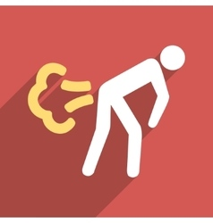 Fart flat long shadow square icon vector
