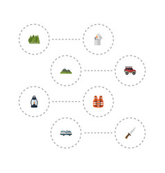 Flat icons hill kerosene caravan and other vector