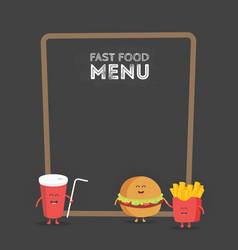 funny cute fast food burger soda french fries vector image vector image