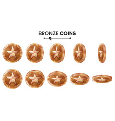 Game 3d bronze coin with star flip vector