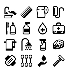 Hygiene Icons Set on White Background vector image vector image