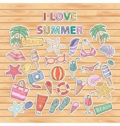 I love summer setScrapbook setSticker vector image vector image