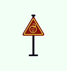 kids warning road sign vector image vector image