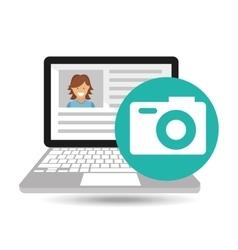laptop social profile camera icon vector image