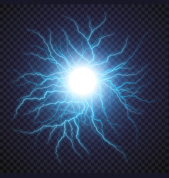 Lightning flash light thunder spark on transparent vector