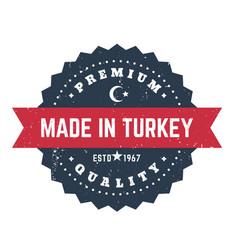 made in turkey vintage badge emblem vector image