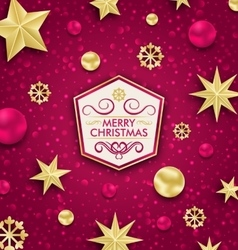 Merry Christmas Banner with Glitter Decoration vector image
