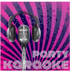 microphone and headphones for karaoke party vector image vector image
