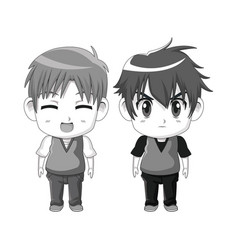 Monochrome set silhouette cute anime tennagers vector