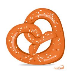 realistic tasty pretzel on the white vector image