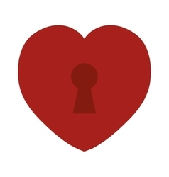 Red heart love keyhole icon vector