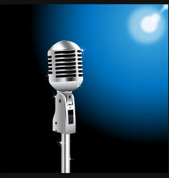 Retro microphone on spotlight background vector