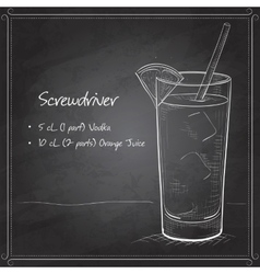 Screwdriver scetch cocktail on black board vector