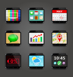 Set of app icons in mobile phone style vector