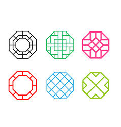 set of hexagon korean pattern window frame vector image vector image