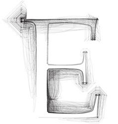 Sketch font letter e vector