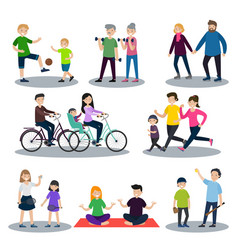 Sport and healthy family set vector