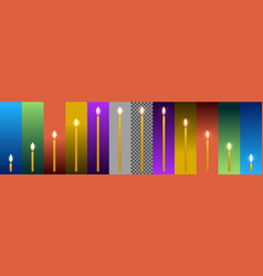 Wax candles on backgrounds in different colors vector