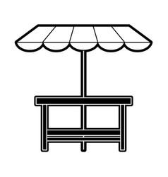 wooden table patio umbrella vector image