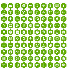 100 motorsport icons hexagon green vector