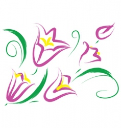 still life with purple flowers vector image