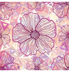 Ornate pink flowers on abstract triangles vector