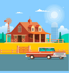 farm house with windmill vector image