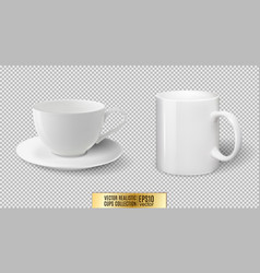 Realistic ceramic white cup and mug vector