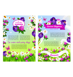 Flowers bouquets for welcome summer time posters vector