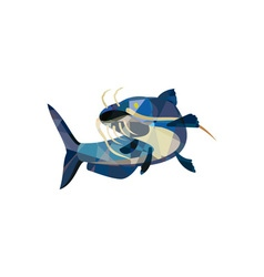 Catfish Mud Cat Looking Up Low Polygon vector image