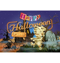 Happy halloween party mummy background vector