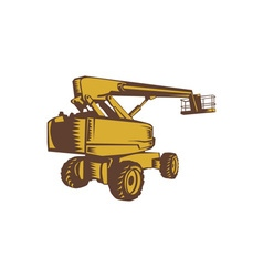 Cherry picker mobile lift platform woodcut vector