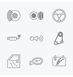 Accumulator brakes and steering wheel icons vector